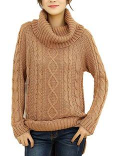 Women Turtleneck Cowl Neck Ribbed Cable jumper Sweater dress (Free size: S/M/L, Khaki) v28 http://www.amazon.com/dp/B00HGZJCZ6/ref=cm_sw_r_pi_dp_fimVtb1BADZJ4PCQ