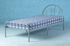 In this picture, this is 'Nova Bed', made of solid metal. It is very cheap rated single bed. In the UK, delivers this without delivery charges. Browse this image. Bed Frame With Mattress, Bed Mattress, Bed Sheets, Ottoman Storage Bed, Bed Storage, Single Metal Bed Frame, Silver Bedding, Childrens Beds, Bed Base