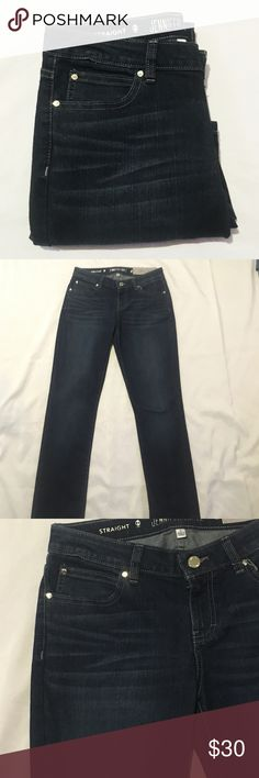 J Lo Jeans Dark wash jeans with silver accents. Straight leg mid rise stretch. Relaxed through hip and thigh. 82% cotton 16% polyester 2% spandex. Jennifer Lopez Jeans Straight Leg