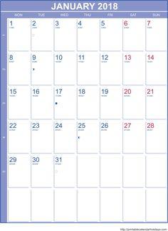 calendar template 2018 with holidays