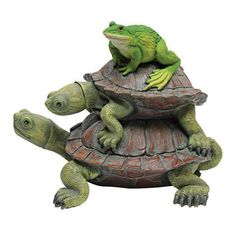 """""""All Aboard"""" Turtles & Frog Statue Sculpture. Home Yard & Garden Turtle Products"""