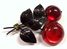 VINTAGE Austrian Fruit Brooch Pin CHERRIES Red Glass by punksrus, $56.50