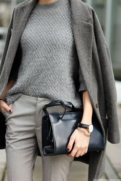 Grey Outfit Ideas: Beatrice is wearing an grey coat and trousers from Asos with a Monrow sweater