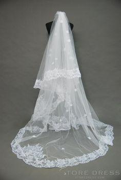 Fabulous Royal Length White Tulle Wedding Veil at Storedress.com