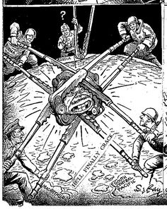 The war in the Pacific as depicted by S. Ray of the Kansas City Star, 1943 Franklin Delano, Political Cartoons, Sailors, Geography, Ww2, Dankest Memes, Soldiers, Kansas City