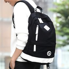372236d733b1 Korean men s shoulder bag fashion trend leisure canvas backpack high school  college student bag computer bag travel bag