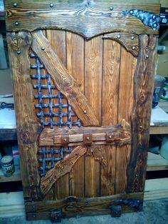Cool Doors, Unique Doors, Rustic Doors, Wooden Doors, Porte Diy, Castle Doors, Log Furniture, Fairy Doors, Types Of Doors
