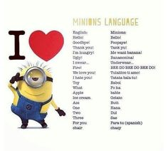 minions language i love you - Hľadať Googlom