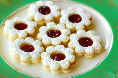 Raspberry Linzer cookies. Nut-free dough. Can also omit the nut mixture sprinkle if necessary. Brush with milk instead of egg wash if desired.