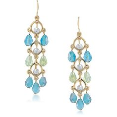 Carolee Niagara Mist Linear Drop Earrings ($50) ❤ liked on Polyvore featuring jewelry, earrings, blue, carolee earrings, carolee, drop earrings, blue drop earrings and carolee jewelry