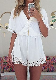 White Plain Lace High Waisted Chiffon Short Jumpsuit