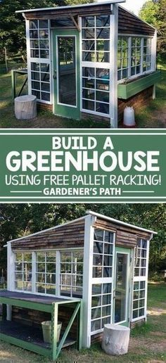 Shed DIY - Here is a bunch of solid reasons why your yard could use the addition of a greenhouse, with 15 inexpensive pallet greenhouse plans designs to choose from. Now You Can Build ANY Shed In A Weekend Even If You've Zero Woodworking Experience! Pallet Greenhouse, Backyard Greenhouse, Pallets Garden, Greenhouse Ideas, Greenhouse Wedding, Homemade Greenhouse, Cheap Greenhouse, Pallet Gardening, Greenhouse Growing