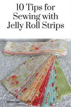 10 Tips for Using Jelly Rolls 2019 10 ideas for using jelly roll strips in your quilts and quilt projects. The post 10 Tips for Using Jelly Rolls 2019 appeared first on Quilt Decor. Quilting For Beginners, Sewing Projects For Beginners, Quilting Tips, Quilting Tutorials, Quilting Projects, Sewing Tutorials, Quilting Patterns, Easy Patterns, Beginner Quilt Patterns