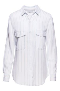 Rails Marlow Long Sleeve Shirt in Jersey Stripe features a button up front two working breast pockets a collared neck and adjustable 3/4 sleeves. Pais well with a denim skirt sandals and a brimmed hat.  Marlow Jersey Stripe by Rails. Clothing - Tops Nevada