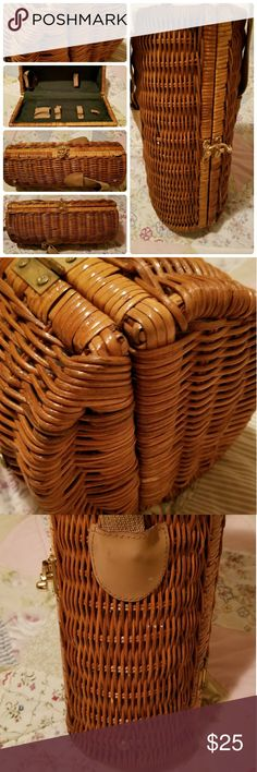 """Wicker Bottle Bag Carrier Tote EUC!! Wicker bottle bag, carrier, tote, holder. Perfect for those Summer picnics or to have just in case! Great condition, inside is clean. Has adjustable carrying strap. Measures approxomately 14 1/2"""" x 6"""". Bags Totes"""