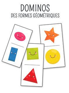 Domino game to print on geometric shapes. Kindergarten Lesson Plans, Preschool Education, Preschool Curriculum, Preschool Kindergarten, Math Games, Activities For Kids, Geometry Lessons, Montessori Math, 1st Grade Math