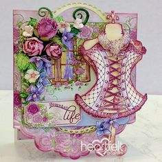 """Charming Fashionista """"Just Because"""" Card Sample - It's so much fun to receive a card in the mail """"just because"""" someone is thinking of you! This stunning vintage fashionista card sample would be most welcome in any mailbox! Crafts To Make, Diy Crafts, Card Crafts, Heartfelt Creations Cards, Color Card, Flower Making, Greeting Cards Handmade, Paper Design, Altered Art"""