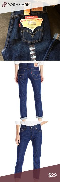 Women's Levi's 501 CT Added one more pair in a 28! This is the last of my backup stash of my favorite Levi's. I have 6 pairs lol! The fit on these is awesome. Mid rise, tapered leg and button fly. Mild boyfriend fit. Sits perfectly at waist. Classic 501 pocket. Great fit for any age. I'm super picky about my jeans and these are my #1 go to👌🏼 Retail is $64.50. LAST PAIR I'M SELLING! Get them before they're gone🙀 Dark blue 501's rule💪🏻💋 Levi's Jeans