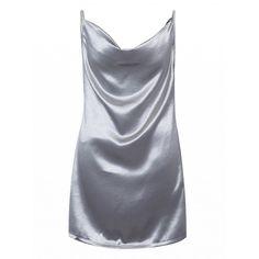 Choies Silver Drape V-neck Cami Dress (27 CAD) ❤ liked on Polyvore featuring dresses, silver, camisole dress, v neck cami, silver cami, v neck drape dress and v neckline dress