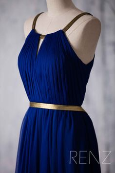 2015 Long Bridesmaid dress Royal Blue Wedding dress por RenzRags