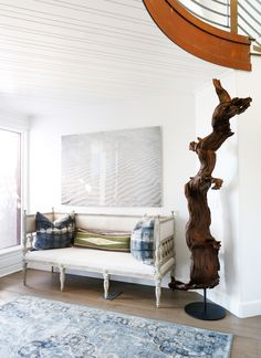 Project San Clemente   Entry Bench and Large Driftwood Sculpture - Blackband Design