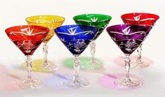 Crystal Gifts, Stemware, Vases, Rare Colors, European Quality!: SUPER SALE!!! - Hand Cut Multi-Color Martini / Margarita Set of 6 GEMS! Reg. $299 - IN STOCK