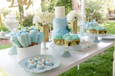 Sweets table from Blue & Gold Baby Shower at Kara's Party Ideas. See the…