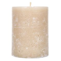 """Ivory Floral Blossom Sponge Textured Pillar Candle - 3"""" x 4"""""""