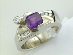 Purple  Sapphire Purple Sapphire, Heart Ring, Gemstone Rings, Jewellery, Gemstones, Jewels, Gems, Schmuck, Heart Rings