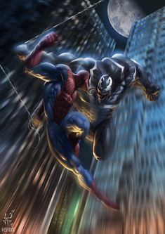 Spider-Man Vs Venom by demitrybelmont on DeviantArt Ms Marvel, Storm Marvel, Marvel Venom, Marvel Dc Comics, Marvel Heroes, Venom Comics, Amazing Spiderman, Art Spiderman, Batman Vs Superman