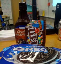 What do these items have to do with science?   Well, we need them to make a model of the layers of Earth, of course!  The outside chocolate ...