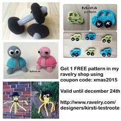 Get 1 FREE pattern in my ravelry shop using coupon code: xmas2015 Valid until december 24th http://www.ravelry.com/designers/kirsti-testroote