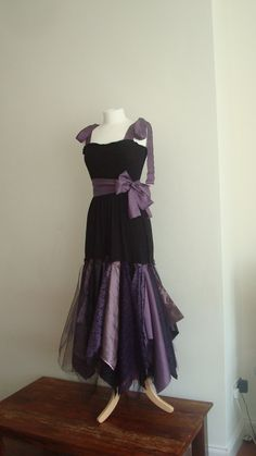 Upcycled Woman's Clothing Romantic Eco Style Wedding Fairy Dress Black Purple Gothic Tulle Lace OOAK. $148.00, via Etsy.