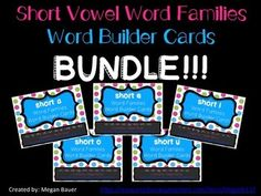 This is a bundle of my short vowel word family cards in my store!  Download the preview to see part of the short a vowel set. These cards are for students to practice building short a, e, i, o, and u words. Word families included are:-ad, -ag, -am, -ab, -an, -ap, -at, -and, -ax, -ack-et, -ell, -en, -ed, -eg, -eck, -em, -ess-it, -in, -ib, -id, -ig, -im, -ip, -ill, -iss, -ick, -ix, -iss-ot, -ob, -od, -og, -om, -on, -op, -ot, -ock, -ox-ub, -ud, -ug, -um, -un, -up, -ut, -usAlso included are two…