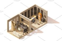 Vector isometric low poly recording studio icon by on Home Music Rooms, Music Studio Room, Audio Studio, Chinoiserie, Home Recording Studio Setup, Japanese Home Design, Studio Layout, Home Modern, Asian Decor