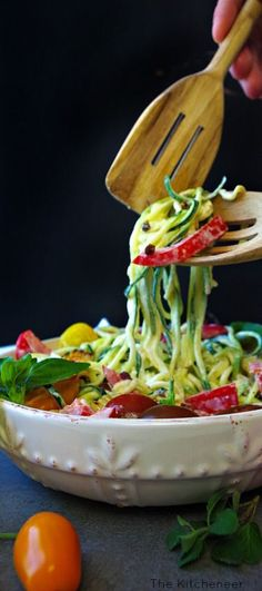 Farmer's Market Zoodle Pasta Salad the perfect summer side dish!