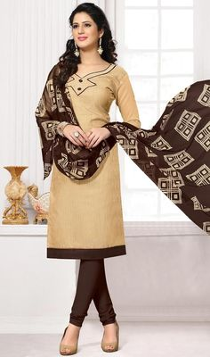 Bring to light your mystic and hidden beauty as you step out in this beige and brown color cotton churidar kameez. Beautified with lace and resham work. #casualoutfit #creamcolordresses #straightcutchuridarsuit