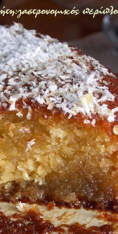 Σιροπιαστό κέικ καρύδας χωρίς αυγά και βούτυρο - cretangastronomy.gr Vegan Vegetarian, Vegetarian Recipes, Dessert Recipes, Desserts, Sweet Recipes, Banana Bread, Pie, Favorite Recipes, Sweets