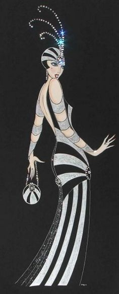 Art Deco Lady - Tallulah - Painting by Diane (Di) Melville Kaye - http://fineartamerica.com/featured/art-deco-lady--tallulah-di-kaye.html