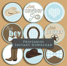 Little Cowboy Baby Shower Cupcake Toppers Party Printables