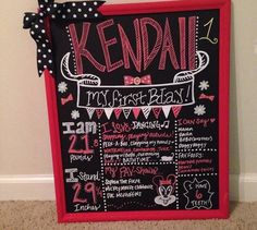 Lady bug themed first birthday chalkboard red black and white chalkboard writing with polka dot bow