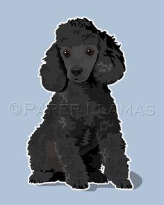 Poodle puppy Dog Art custom dog portrait chevron by PaperLlamas, $18.00