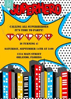 Superhero Birthday Invitation Superhero by LeesaDykstraDesigns