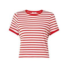 Petites Red Stripe T- Shirt ($25) ❤ liked on Polyvore featuring tops, t-shirts, stripe tee, striped tee, petite tees, stripe t shirt and red stripe tee