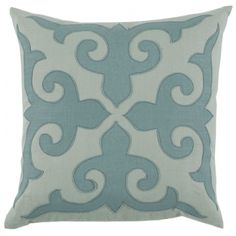Mosaic applique with seafoam and aquamarine linen throw cushion.  Includes feather pillow insert, 22 x 22.