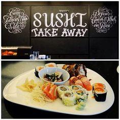 Xesta Studio at Clérigos Restaurant in Porto #chalk #lettering #restaurant #clerigos #porto #sushi #takeaway #xestastudio #2013
