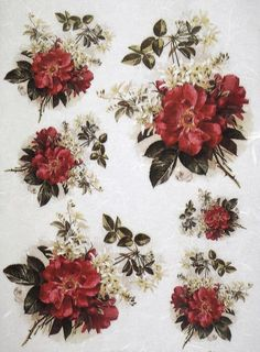 Rice Paper for Decoupage Scrapbook Craft Sheet Red Rose Bouquets