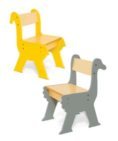 Need extra seating for more teddy bears at the party, or kids at the craft table? This safari-inspired set goes great with the tree table, giraffe and zebra chairs, or mix and match to add a fun twist to an existing set!Includes two chairs11''W x 23'' H x 11'' DFiberboard / wood veneerImported