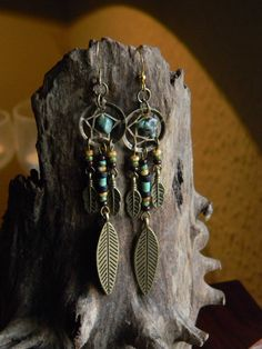 Tribal Rustic Dream Catcher Earrings with Turquoise in The Native Inspired Tribal Boho Hippi Hipster Style