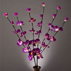 """Purple Butterfly Orchid Lighted Branches with Timer 39"""""""